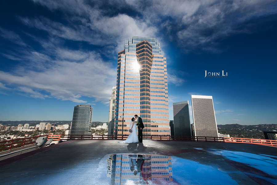 018intercontinental-hotel-century-city-wedding-first-look-in-Helicopter-pad