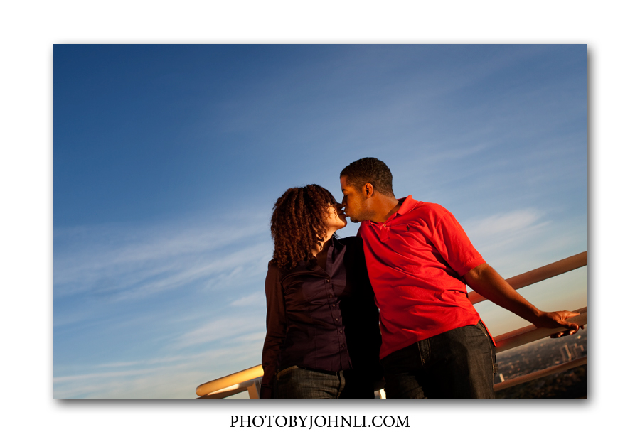 Getty Center engagement session with a sky background