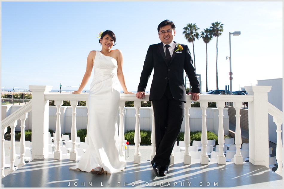 Annenberg Beach House wedding portrait with ocean