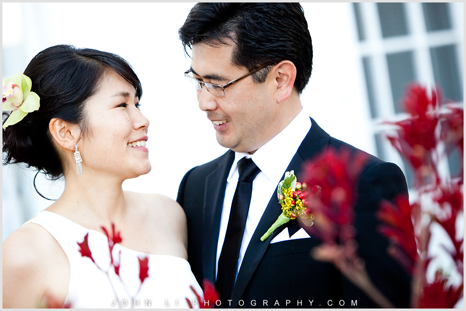 bride and groom in Annenberg Beach House wedding