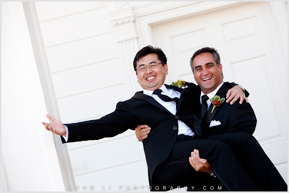 groom and bestman in Annenberg Beach House wedding