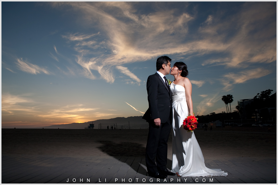 sunset wedding portrait in Santa Monica beach