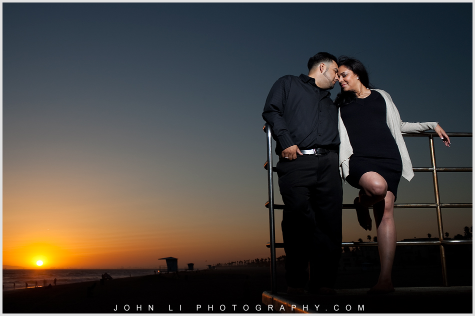 sunset engagement photos in Huntington Beach
