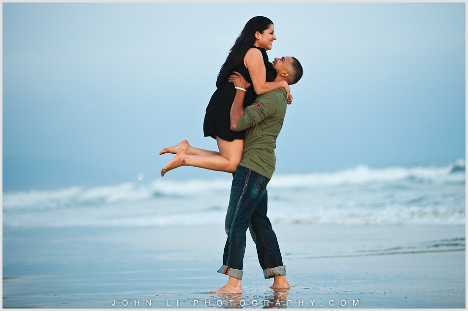 Newport Beach engagement in the ocean