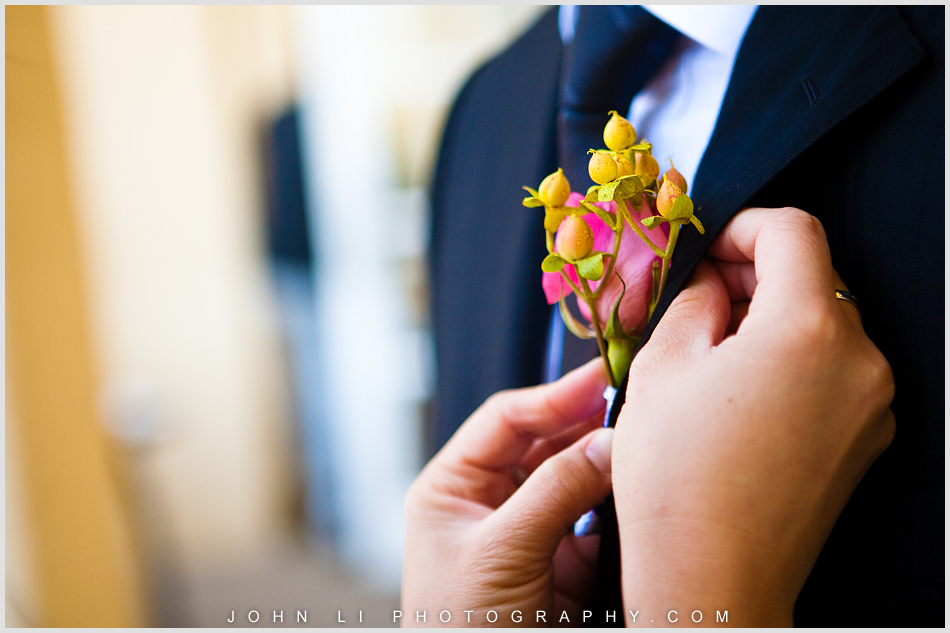 Corsage moment Ritz Carlton Hotel wedding