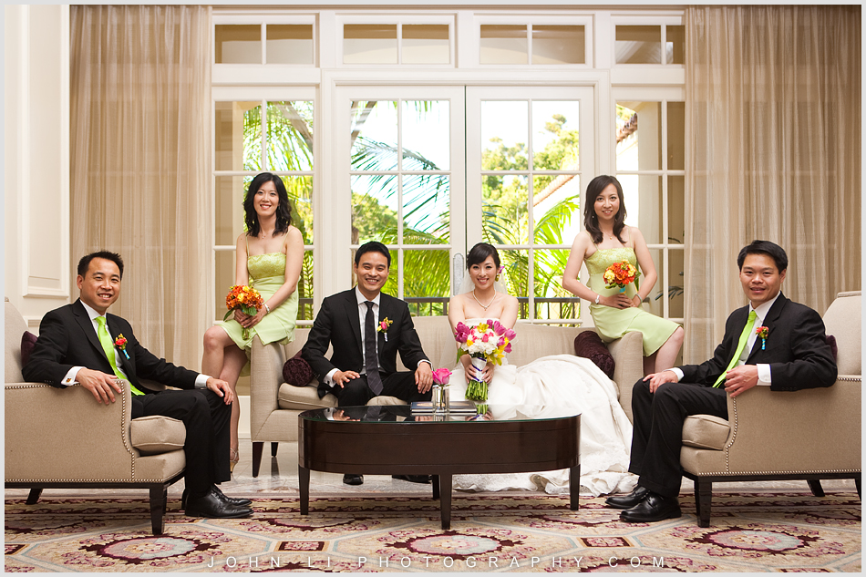 Bridal Party waiting for the ceremony in the lobby - Ritz Carlton Hotel wedding