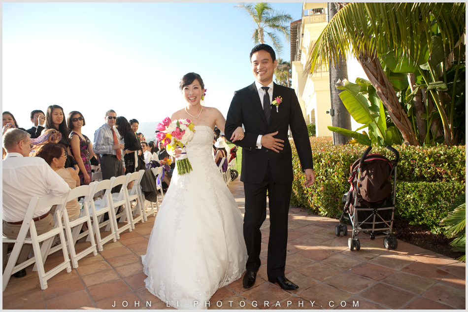 Bride and groom walked down the aisle after the ceremony -  Ritz Carlton Dana Point