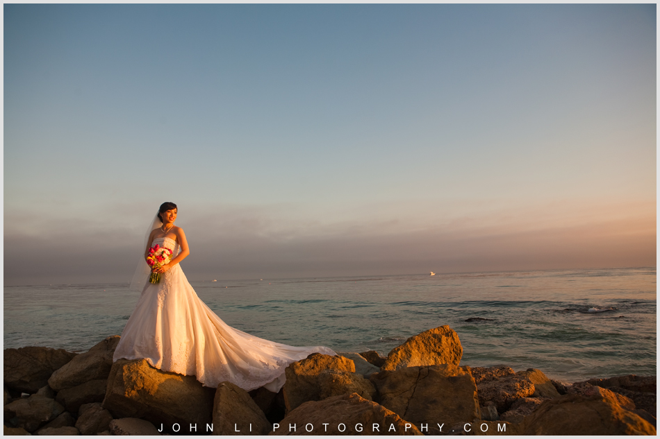 Bride in sunset - Ritz Carlton Hotel wedding