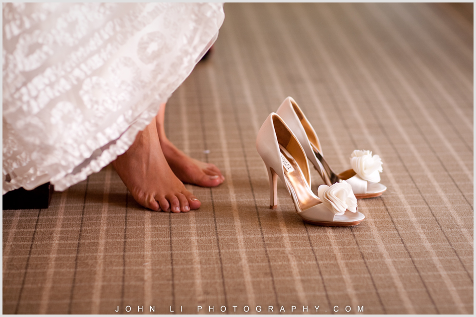 wedding shoes in Hyatt Westlake Plaza in Thousand Oaks