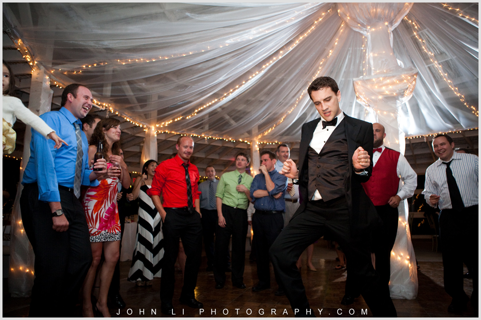 groom dances in Rancho De Las Palmas wedding reception