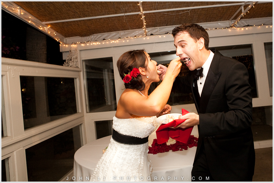 Fun photos in Rancho De Las Palmas wedding reception cake cutting