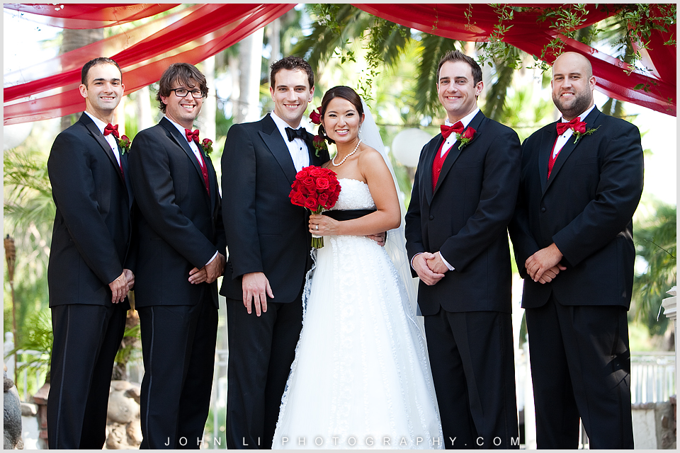bride and groomsmen group photos in Rancho De Las Palmas