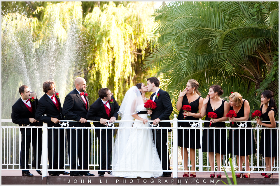 group wedding photos on the bridge in Rancho De Las Palmas