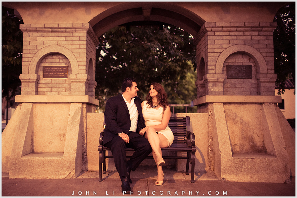 La verne engagement photos in bus stop
