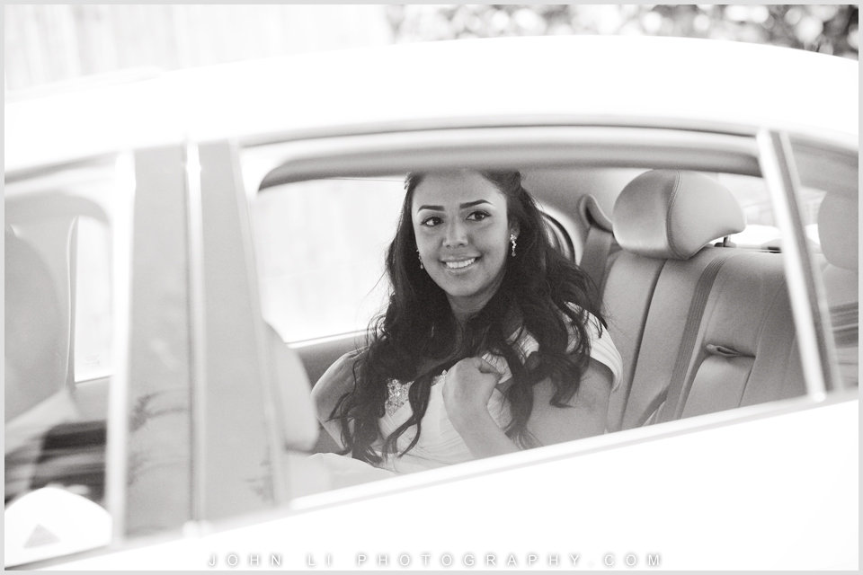 Bride in Limo Long Beach