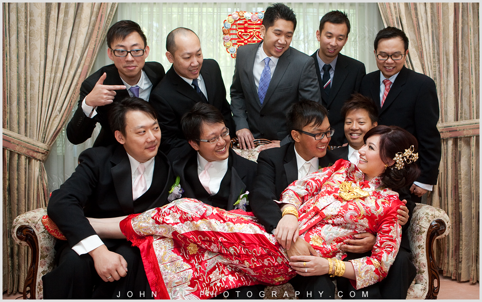 Chinese wedding photo bride with groom men