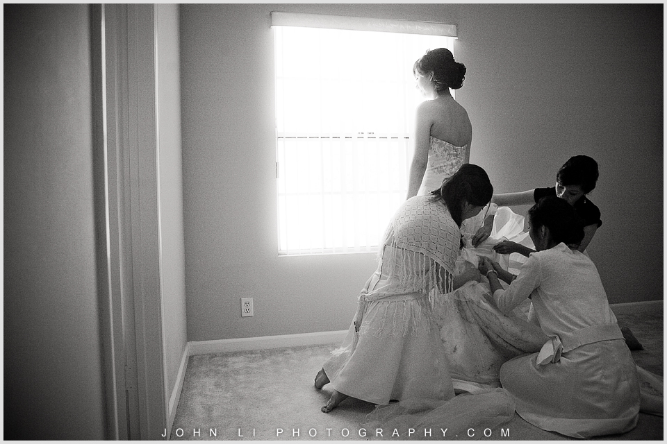 San Gabriel wedding bride getting ready with girls