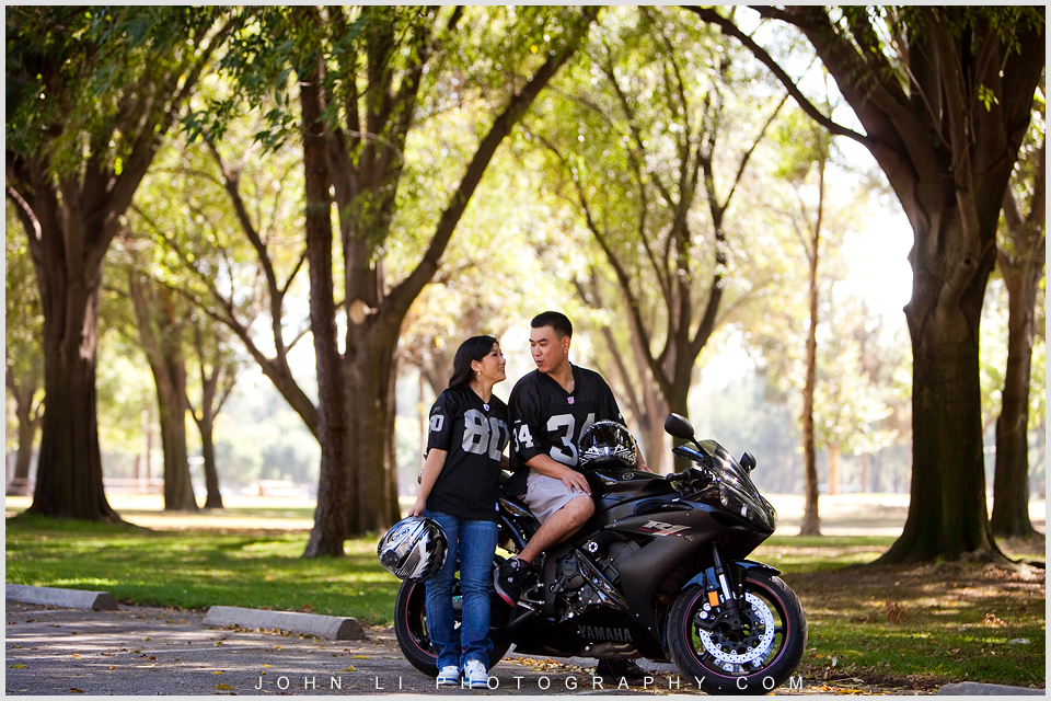 Asian engagement session with motorcycle