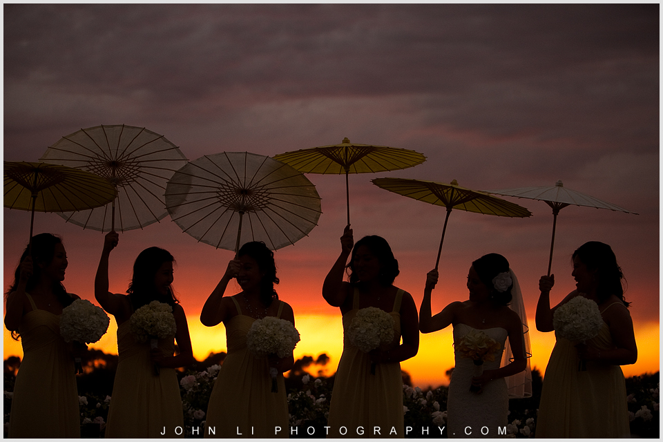 Beach wedding bridal party under the sunset