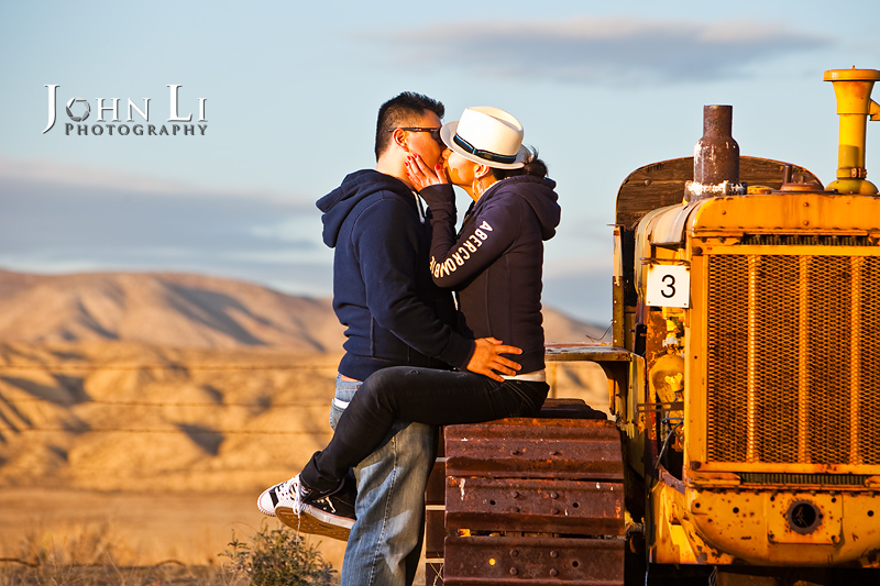 Los Angeles engagement photographer EJ with tractor