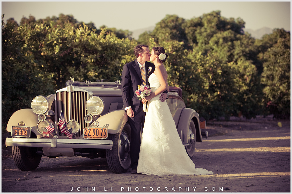 Limoneira Ranch wedding images  with an antique car bride and groom