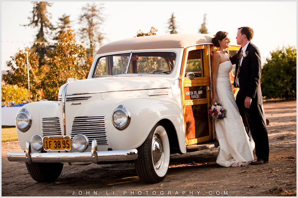 Limoneira Ranch wedding images  bride and groom with car