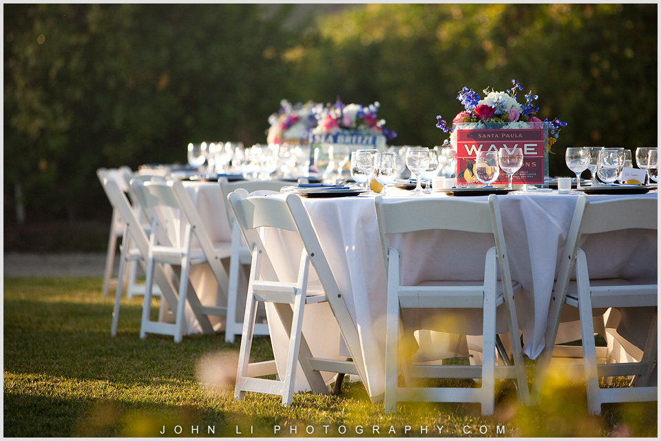 Santa Paula Limoneira Ranch Wedding reception table setting