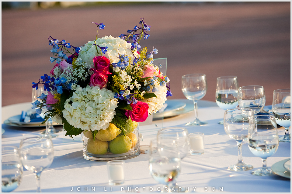 Santa Paula Limoneira Ranch Wedding reception table flowers