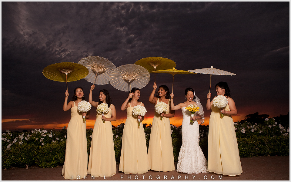Pelican Hill wedding bridal party with Umbrella