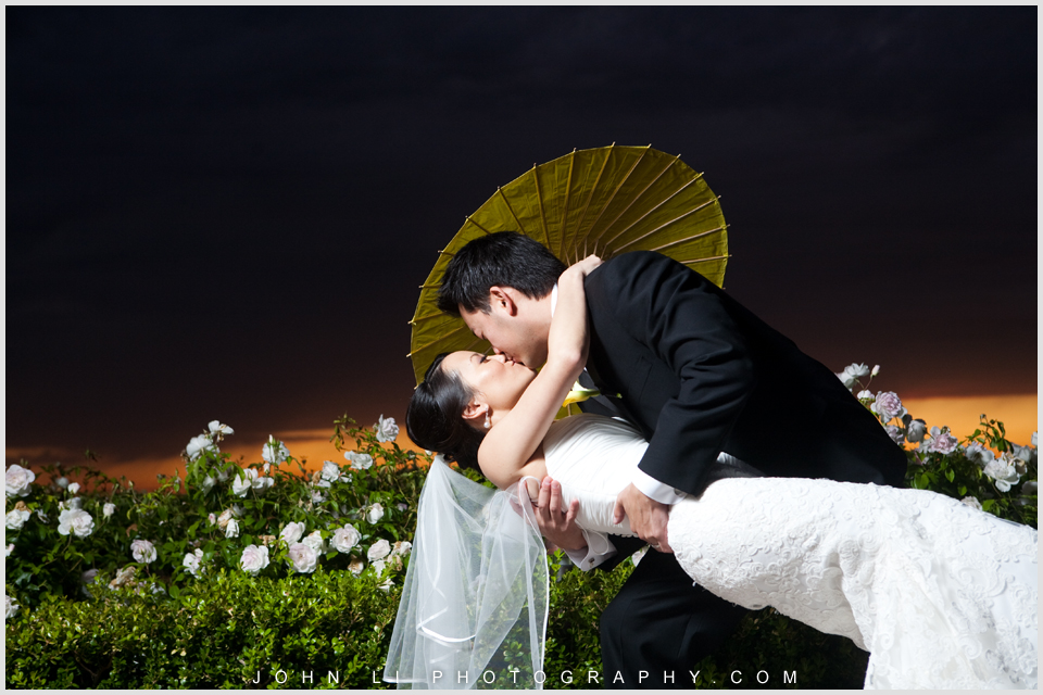 Pelican Hill wedding bridal photos with umbrella