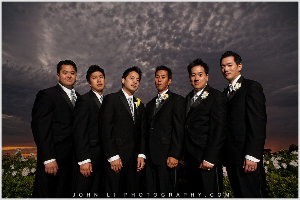 Pelican Hill wedding ceremony groomsmen