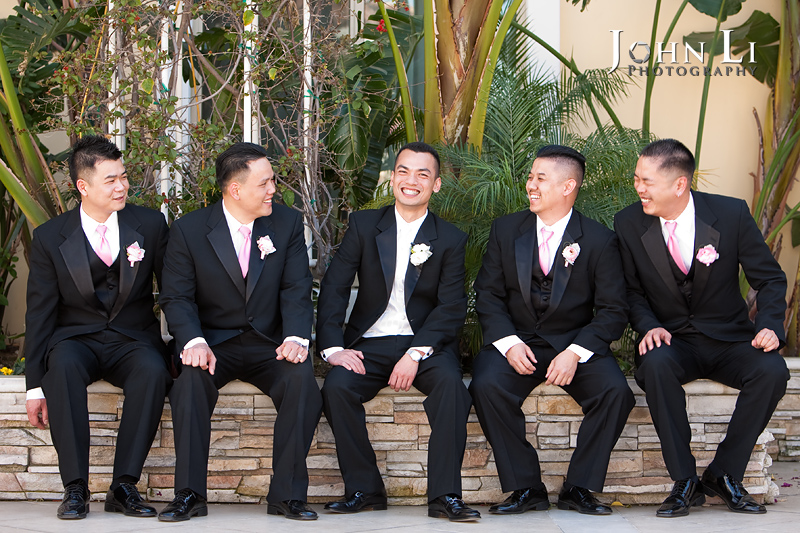 San Gabriel Hilton wedding groom group