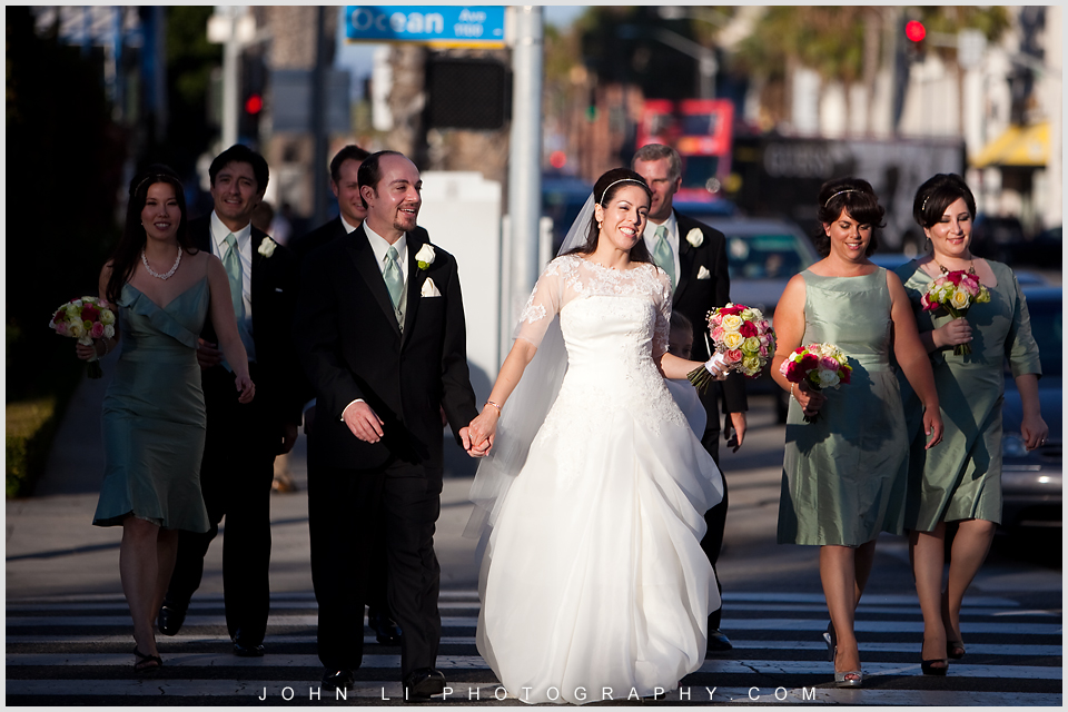 Santa Monica wedding Bridal party walking on the street