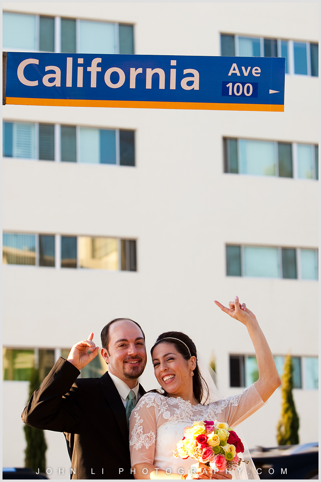 Santa Monica wedding photo on California ave