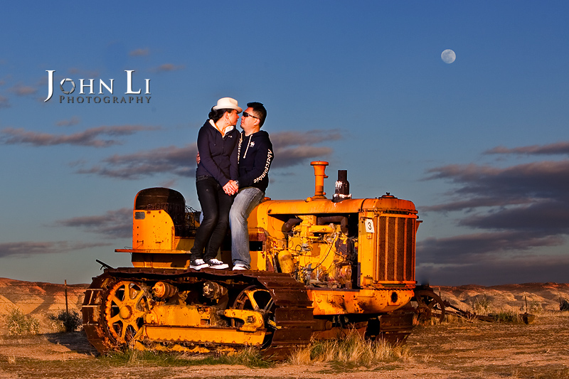 Spring Field engagement photography under moon rise