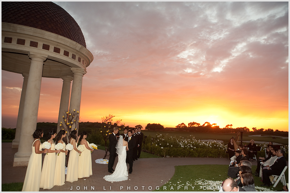 Sunset wedding ceremony in Pelican Hill