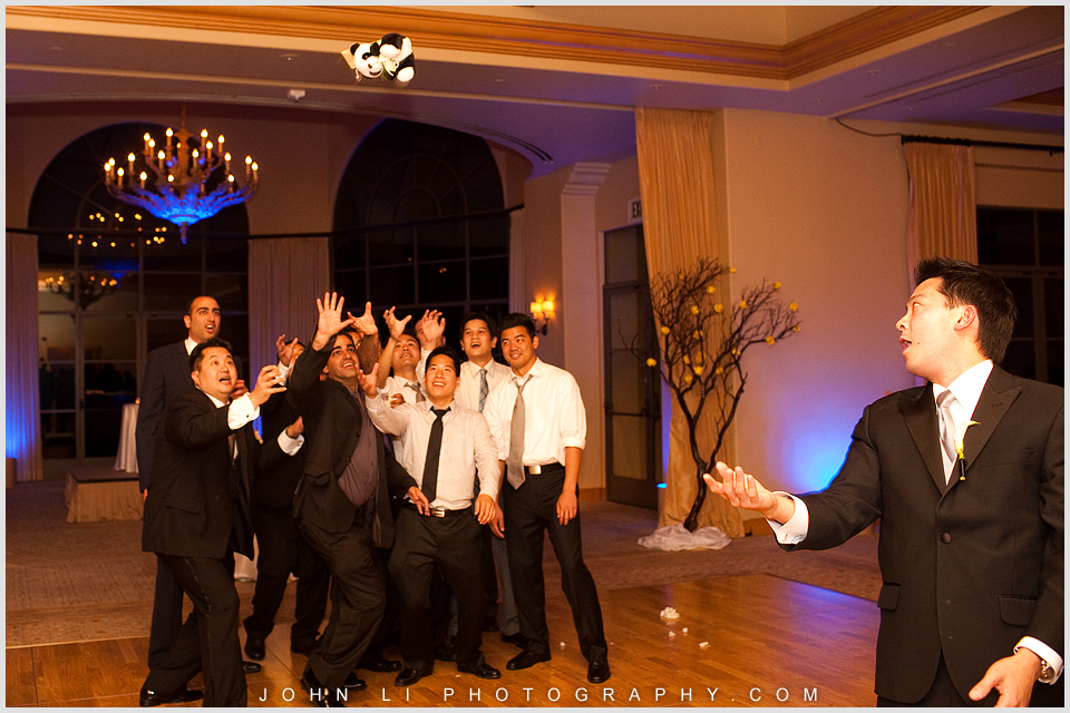 garter toss in Pelican Hill wedding reception