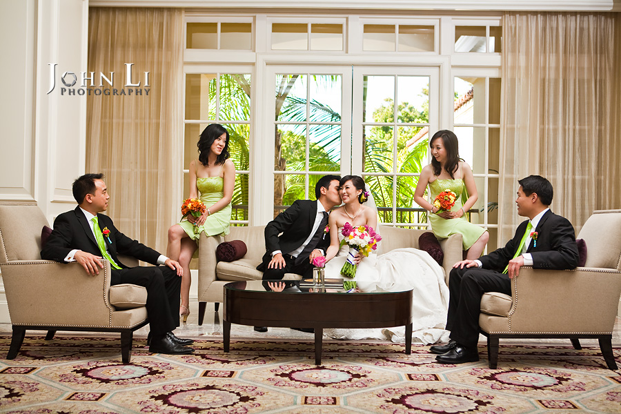 wedding photos in lobby Ritz Carlton Hotel