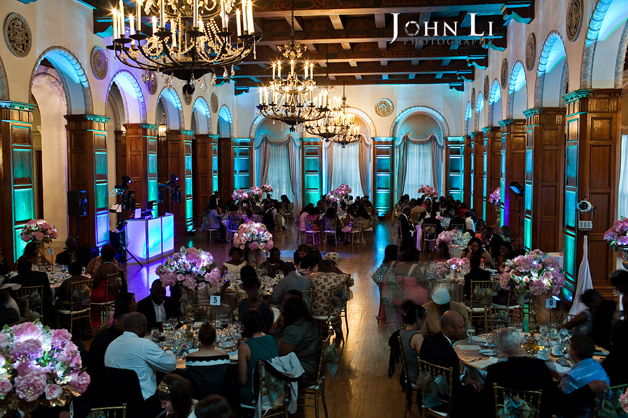 LA Park Plaza wedding reception lighting