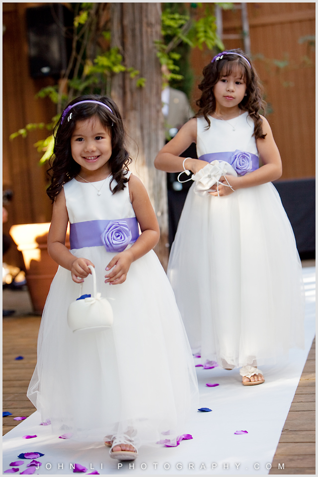 flower girls from Calamigos Ranch wedding ceremony