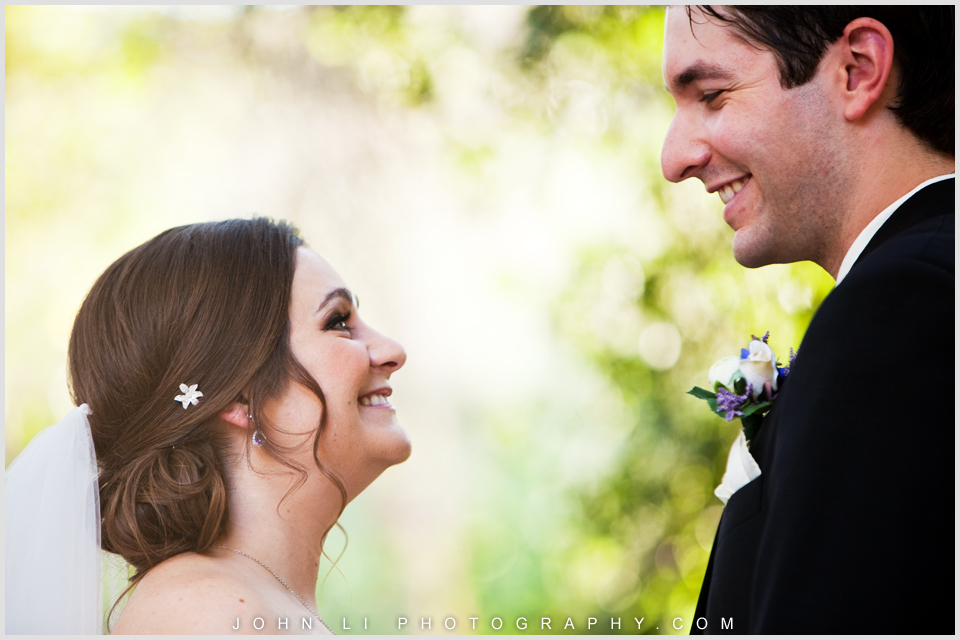 Bride and groom look at each other in the calamigos ranch