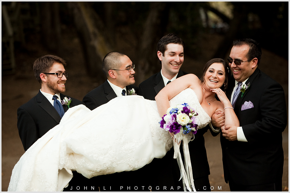 Calamigos Ranch Bridal party Portrait bride with groomsmen