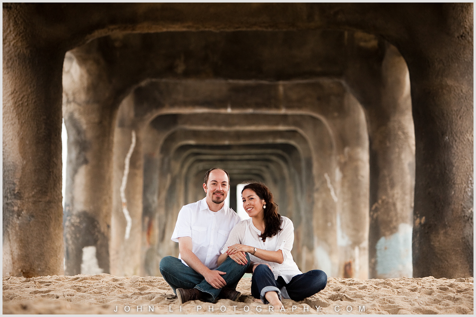 Manhattan Beach Engagement under pier