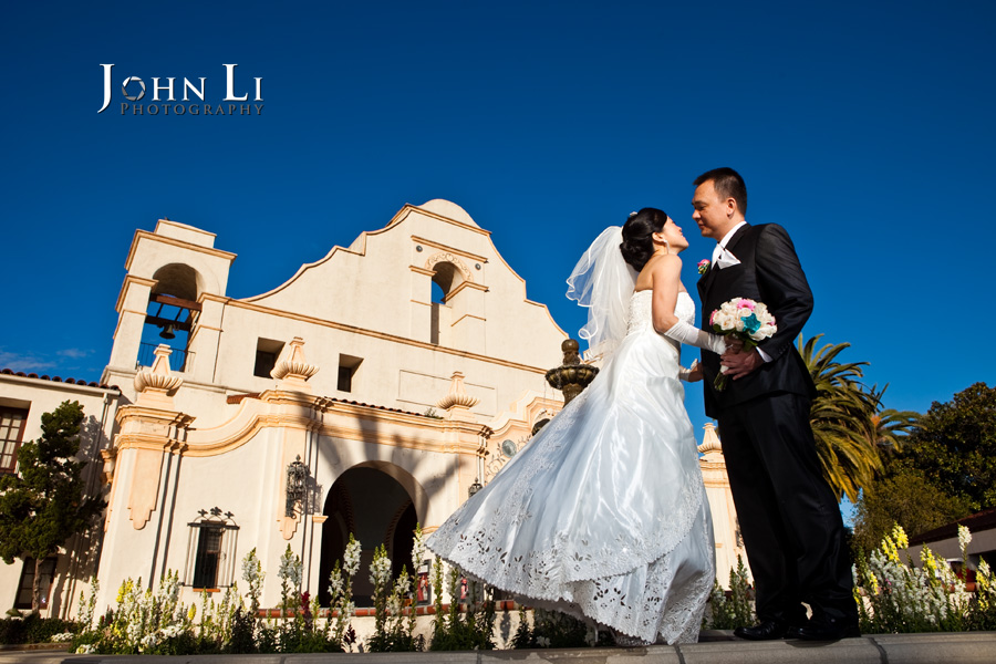 Mission 261 wedding photography with the background San Gabriel Mission
