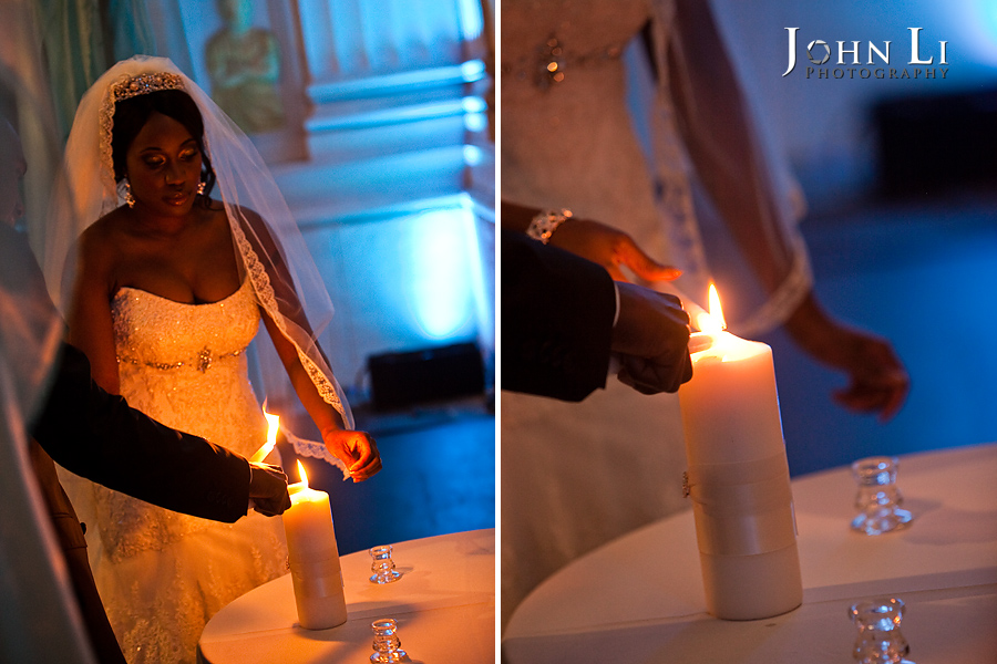 Bride and Groom light the candle during the Park Plaza wedding ceremony