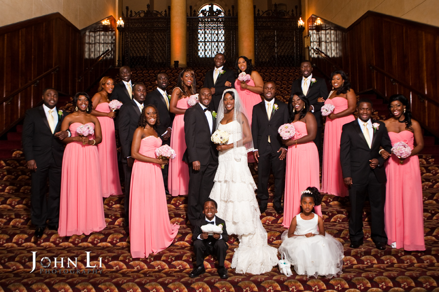 Bridal party group photo on the stairs of Park Plaza Hotel after wedding ceremony