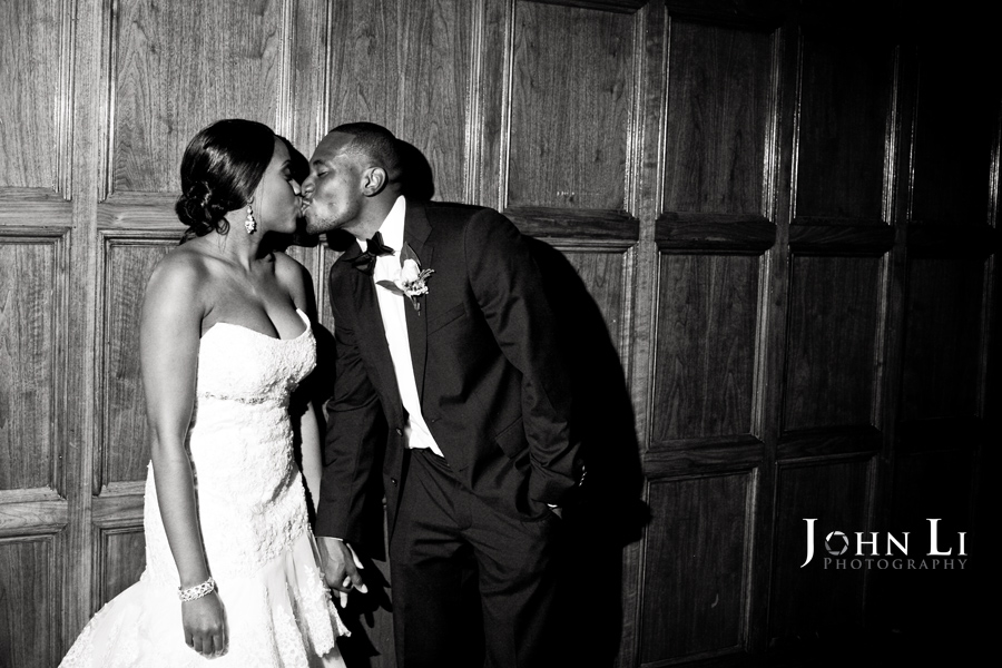 The kiss of bride and groom after the wedding reception in Park Plaza