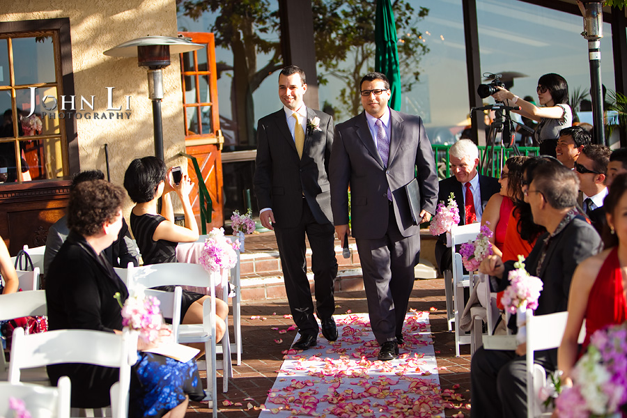 Groom enter wedding ceremony orange hill