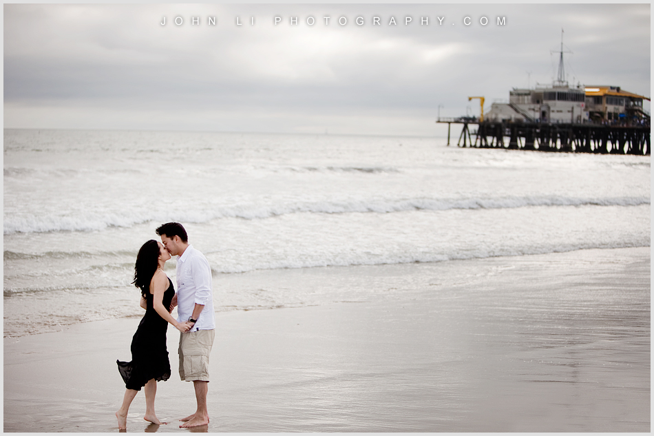 Santa Monica Beach engagement photography with the pier in the background
