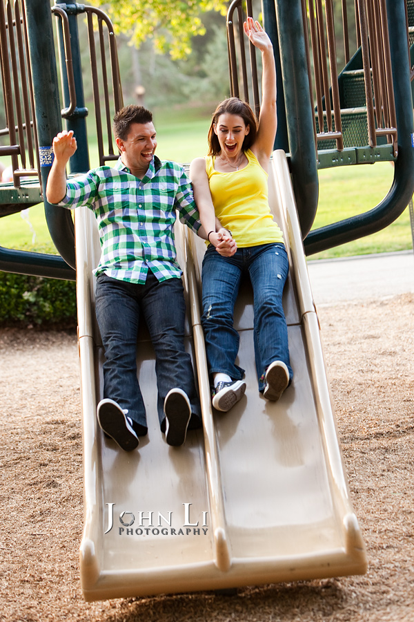 engagement photography in playground in Lacy park